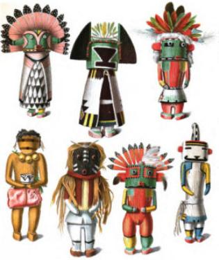 Image of Typical Hopi Kachina Dolls