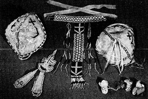 Apache Indian beaded items that have the cross and crescent symbols
