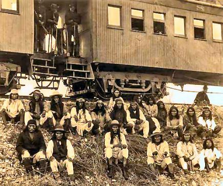 Apache warriors just before they were taken by train to a Florida reservation