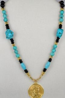 Sacagawea Necklace made of turquoise and the 2010 Sacagawea Gold Dollar