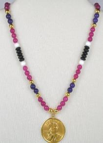 Sacagawea Necklace Made With The Sacagawea Gold Dollar and Beautiful Gemstones
